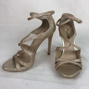 Guess Gold Glitter Strappy Herls 6.5